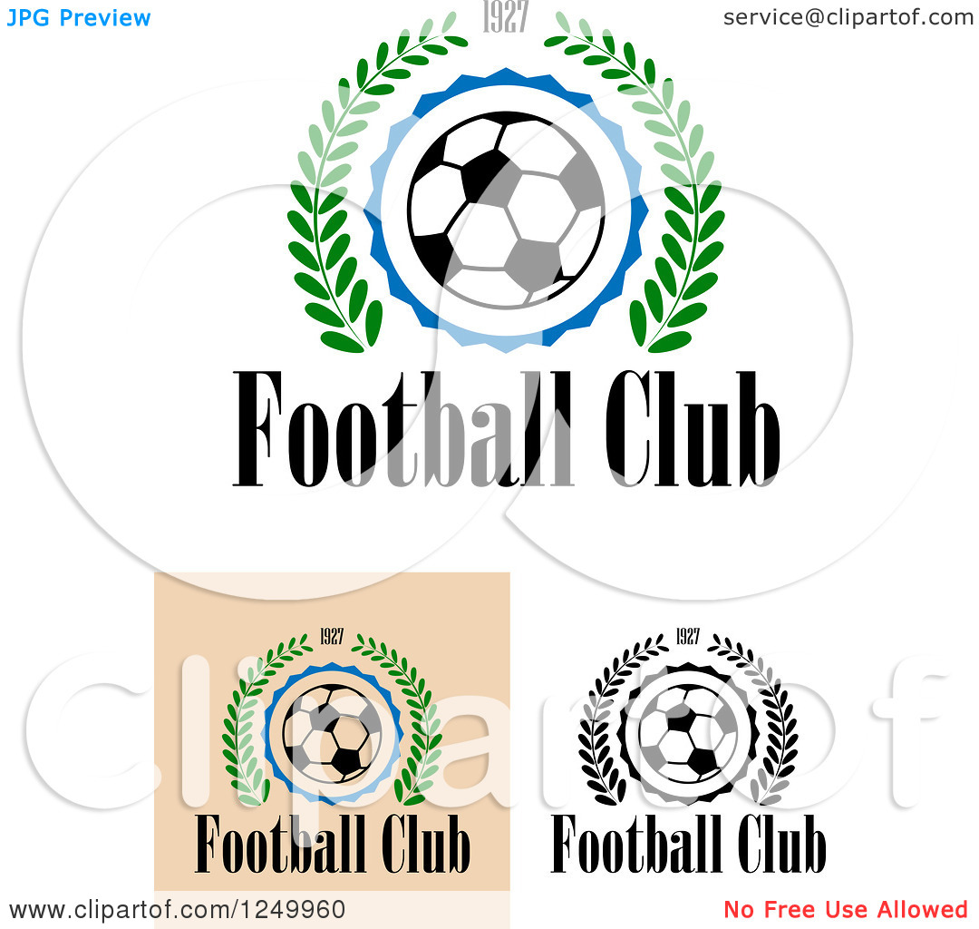 Clipart of Soccer Balls with 1927 Laurel Wreaths with Football.