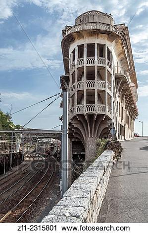 Stock Photography of Old Hotel Belvédère du Rayon vert, Cerbère.