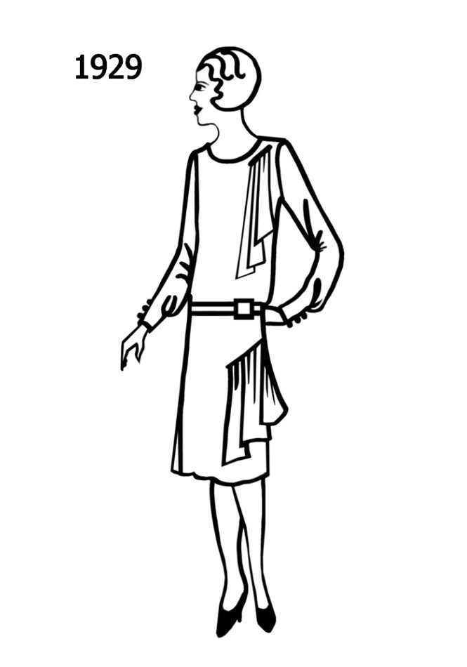 Costume History Silhouettes 1928 1929 Free Line Drawings Clipart.