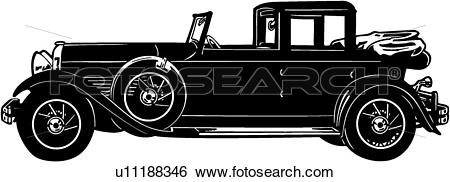 Clip Art of , 1920, 1929, 1930, automobile, car, classic, mb.
