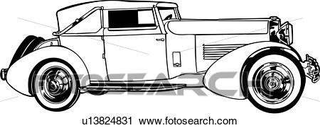 Clipart of , 1920, 1929, 1930, automobile, car, classic, m, model.