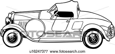 Clip Art of , 1920, 1929, 1930, auburn, automobile, boattail, car.