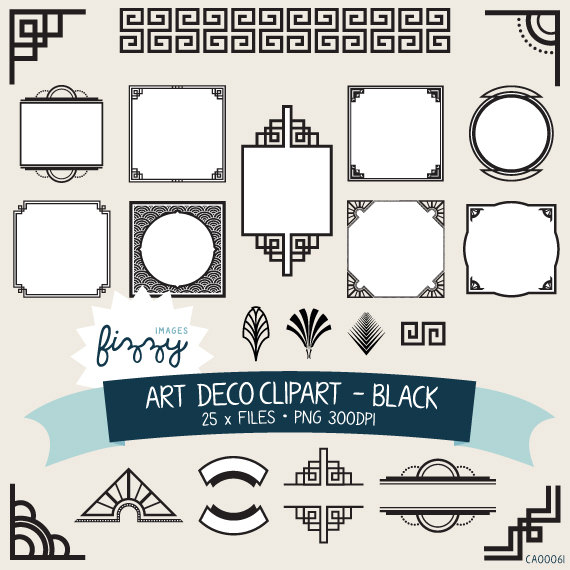 PNG: 25 x Art Deco 1920s 1930s Black Clipart and Borders in 1930.