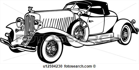 Clipart Of 1920 1930 1932 Auburn Automobile Boattail Car.