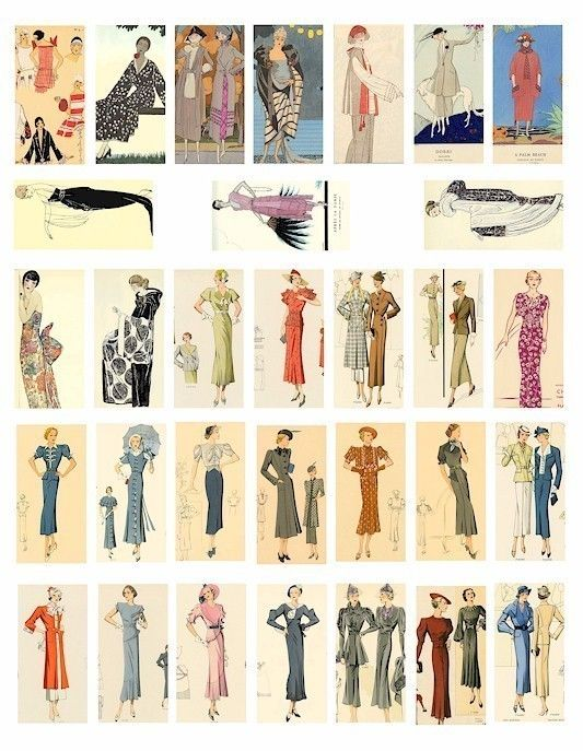 This gorgeous clip art collage shows a great range of 20\'s.