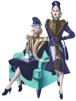 Royalty Free Clipart Image: Two Models Wearing 1930's Fashions.