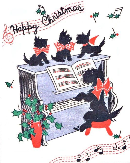 vintage Christmas Scottie dog playing piano, puppies, 1930s.
