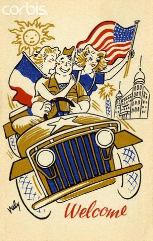 A postcard showing an American GI driving through Monte.