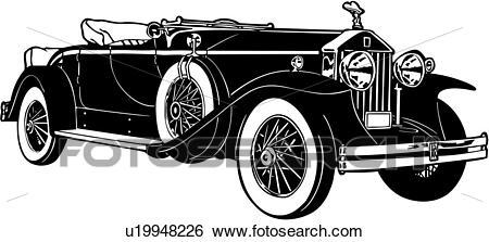 Clip Art of , 1920, 1930, 1931, automobile, car, classic, rolls.