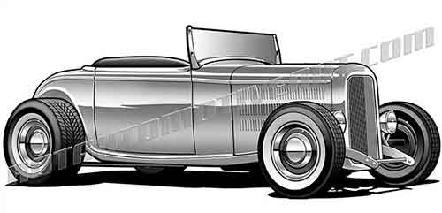 32 ford hot rod roadster clipart, buy two images, get one image free.