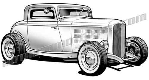 32 ford hot rod clipart, buy two images, get one image free.