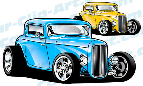 Custom 1932 Ford 3 Window Hot Rod Vector ClipArt — Car.