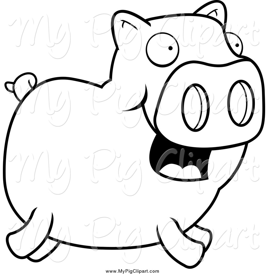 Swine Clipart of a Lineart Happy Piggy Running by Cory Thoman.