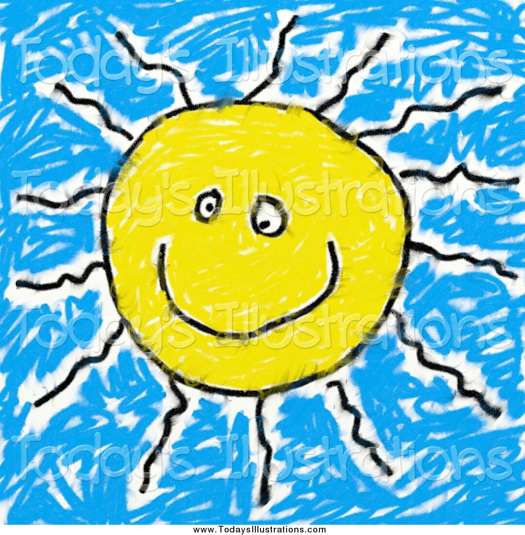 Clipart of a Happy Sun Sketch by Prawny.