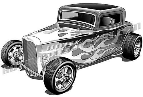 1932 ford three window coupe with flames clipart, buy two images.