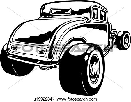 Clip Art of illustration, lineart, classic, car, auto, automobile.