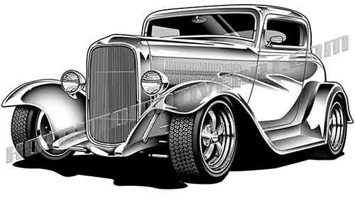1932 Hot Rod Coupe Lower 3/4 View.