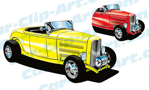 1932 Deuce Coupe Hot Rod Vector Clip Art — Car.