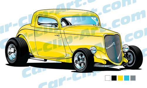 1933 Ford Hot Rod Vector Clip Art.