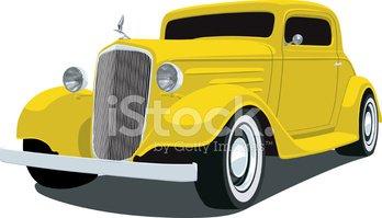 Yellow 1933 Chevrolet Coupe stock vectors.