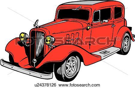 Clip Art of illustration, lineart, classic, car, auto, automobile.