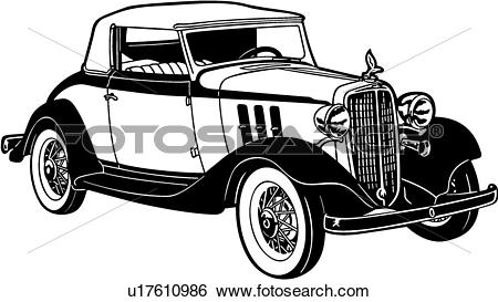 Clip Art of , 1933, automobile, car, chevrolet, chevy, classic.