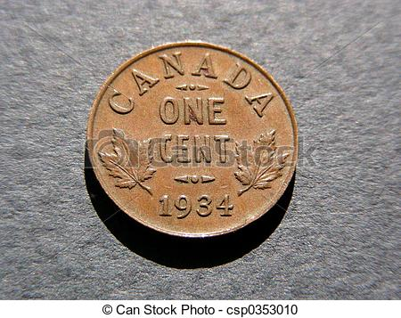 Stock Photography of One 1934 Cent.