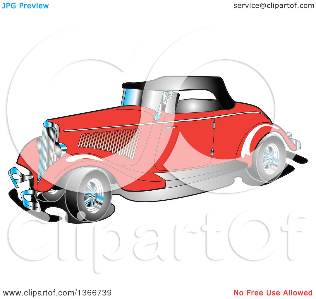 Clipart of a Red Antique 1934 Coupe Car.