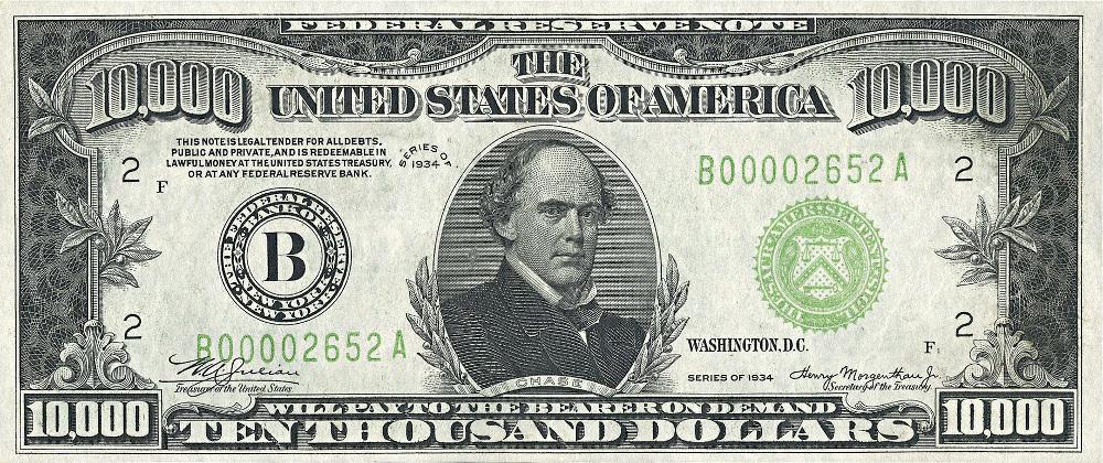 ten thousand dollar bill US 1934.