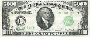 Five Thousand Dollar Bill US 1934 Clip Art Download.