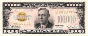 One Hundred Thousand Dollar Bill US 1934 Clip Art Download.