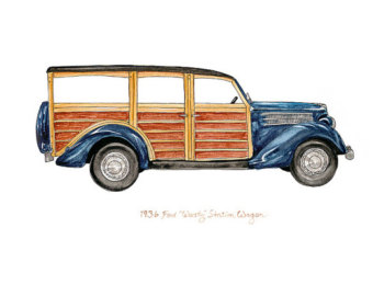 Woody station wagon clipart.