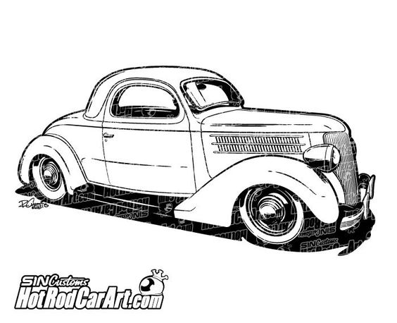 1936 Ford Coupe hot rod.