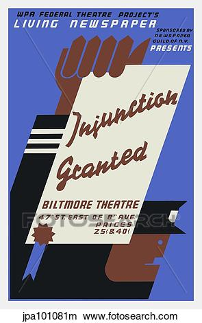Drawings of Vintage WPA poster for Injunction Granted, a 1936.