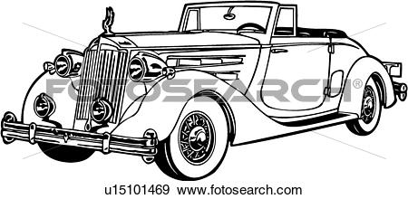 Clip Art of , 1920, 1930, 1936, automobile, car, classic, packard.