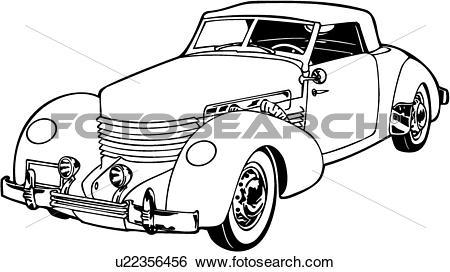Clip Art of , 1920, 1930, 1936, automobile, car, classic, cord.