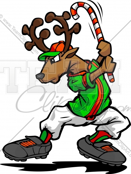 Baseball or Softball Christmas Holiday Reindeer with Candy Cane.