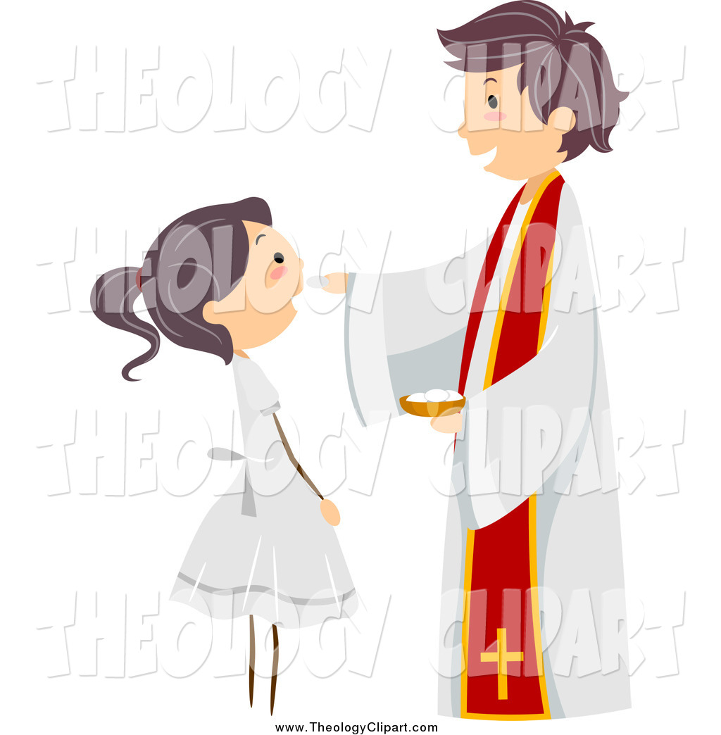 Clip Art of a Priest and Happy Girl at a Communion by BNP Design.