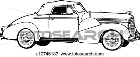 Clip Art of , 1920, 1930, 1938, 5067, automobile, car, classic.