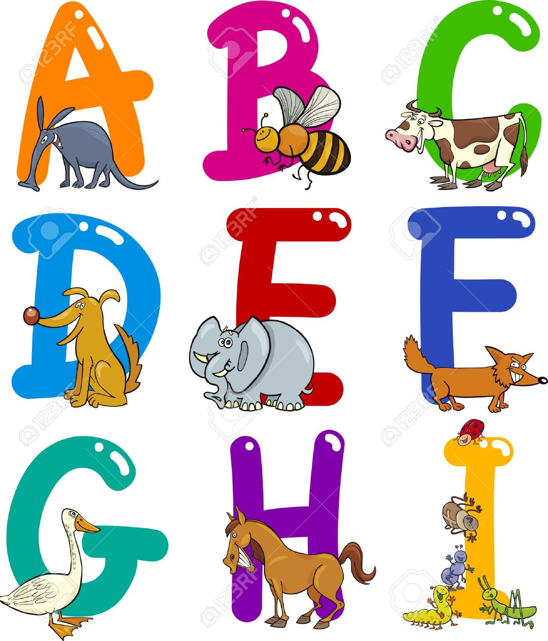 1938 animal and alphabet clipart.