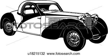 Clipart of , 1920, 1930, 1939, automobile, bugatti, car, classic.