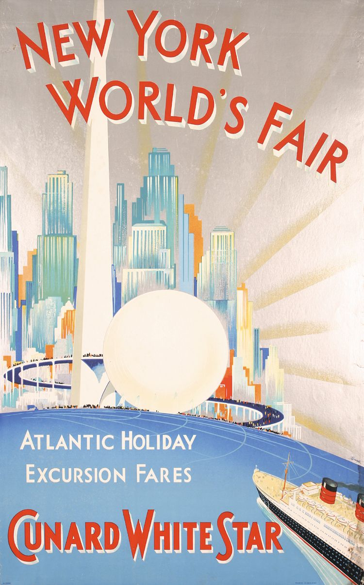RARE Old 1939 NY World´s Fair Cunard White Star Poster. in.
