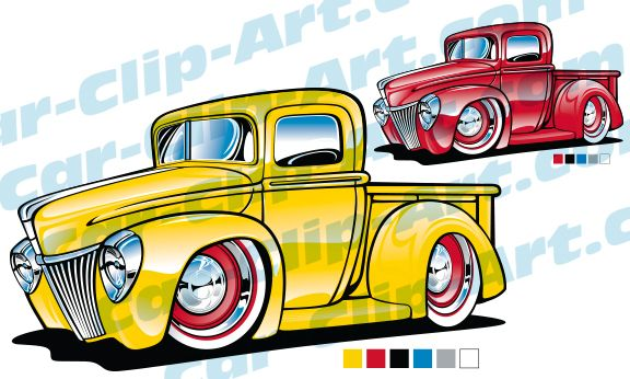 Classic Ford Truck Cartoon Vector Art.