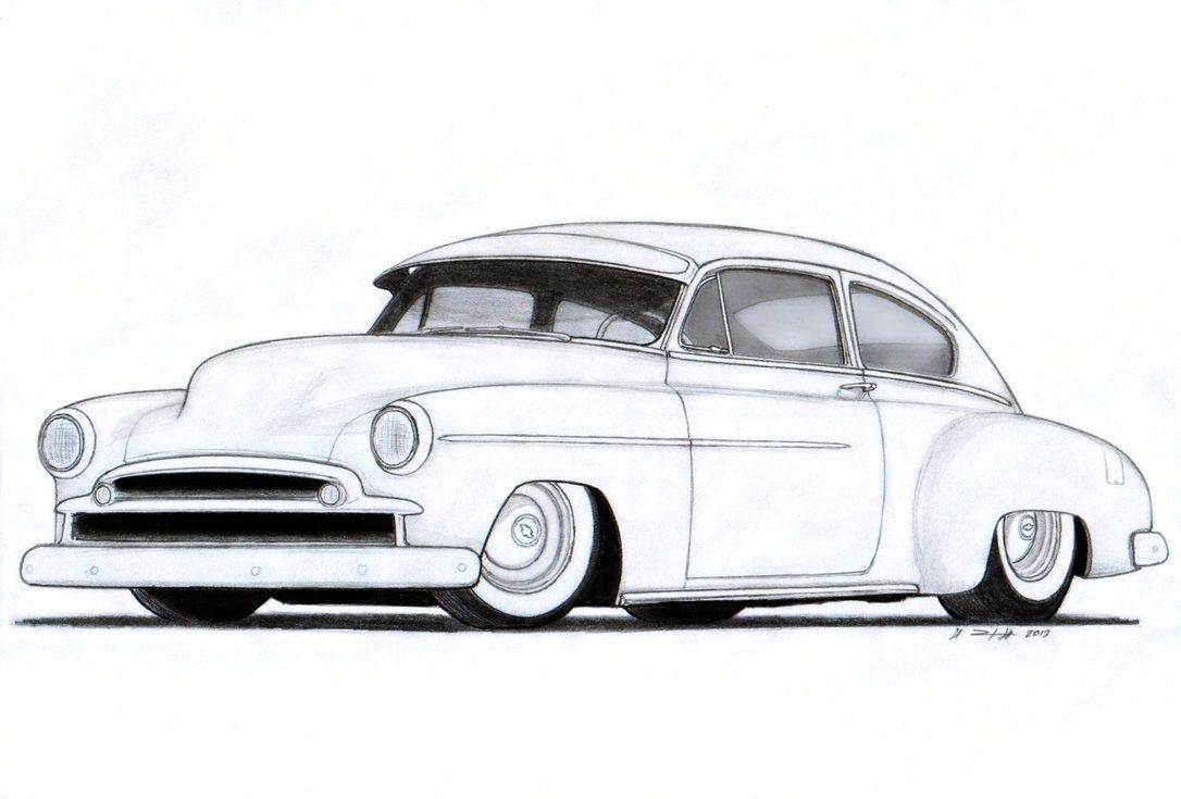 Line Drawing of old cars.