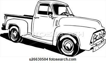 Ilustración, lineart, clásico, 1953, ford, recolección.
