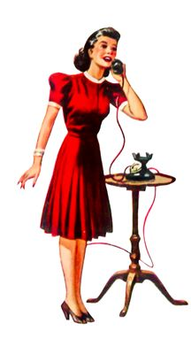 Free Clip Art 1940s woman on phone.