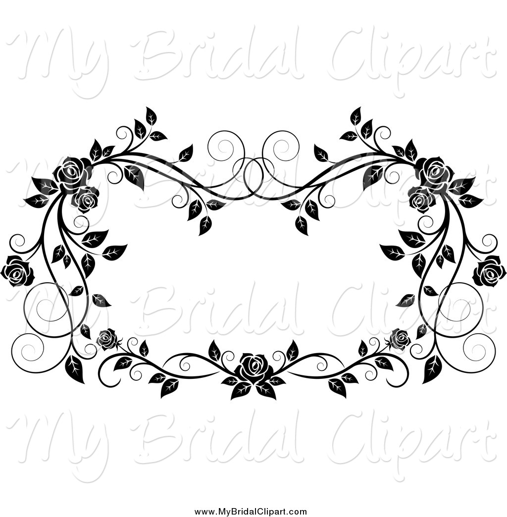 Bridal Clipart of a Black and White Rose Frame by Vector Tradition.
