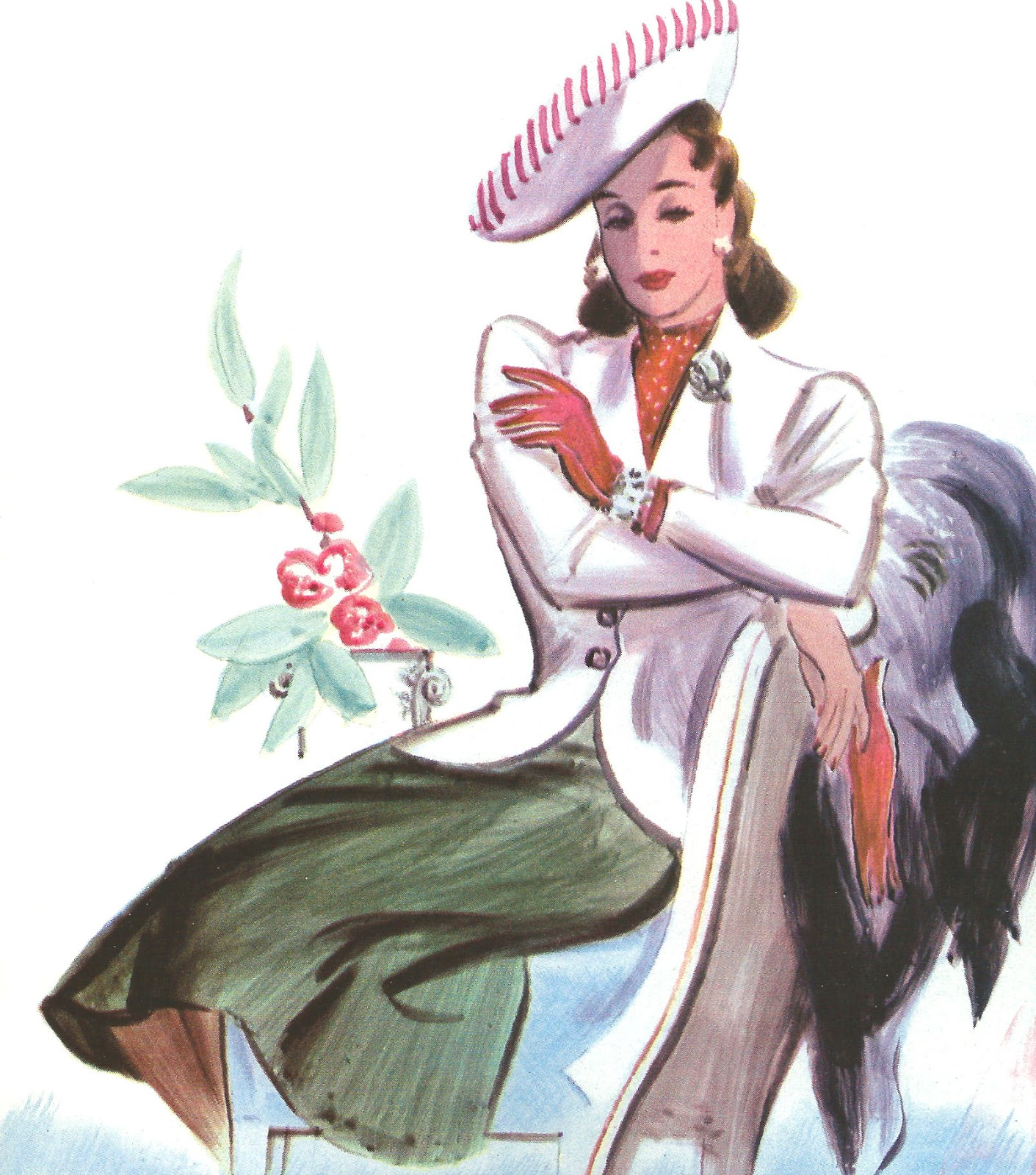 1940 Women S Fashion Clip Art From Vintage Car Catalog Green Skirt.