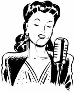 Vintage Clipart Illustration of a 1940's Woman Singing.