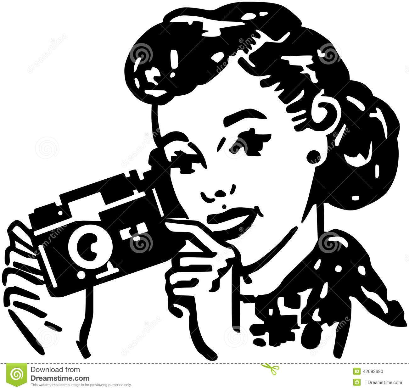 Woman With Camera Photo about beauty, forties, pretty, lady.